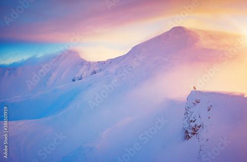 Obraz Hiker on the edge of a cliff on snowy hills. Location place ski resort Dragobrat, Carpathian, Ukraine. - fototapety do salonu