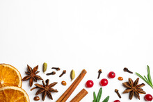 Different Mulled Wine Ingredients On White Background, Flat Lay. Space For Text
