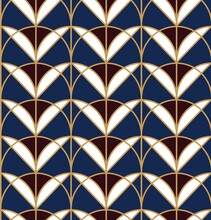 Seamless Geometric Pattern With Floral Elements. Art Deco