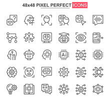 Artificial Intelligence Thin Line Icon Set. Machine Learning Outline Pictograms For Website And Mobile App GUI. Smart Technology Simple UI, UX Vector Icons. 48x48 Pixel Perfect Pictogram Pack.