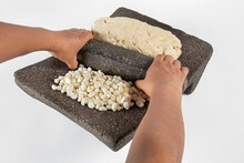 Mexican Flat Grinding Stone Called Metate Grinding Utensil Used To Make Corn Dough For Flatbread Called Tortillas