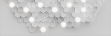 Abstract White Background Geometric Hexagonal Abstract Background. Surface Polygon Pattern With Glowing Hexagons, Hexagonal Honeycomb. Abstract White Self-luminous Hexagons, 3D Illustration