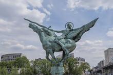 Renaissance France (La France Renaissante) - An Equestrian Statue Installed On The Bir-Hakeim Bridge (formerly Pont De Passy, 1878) In Paris. France.