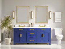 3d Modern Contemporary Chic Bathroom With Two Rectangle Brass Mirrors And A Blue Cabin
