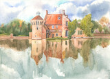 Old Skotney Castle and its surrounding park are reflected in the lake water on an autumn day, this is a watercolor drawing on paper. Old English country castle in Kent on the Bewl River