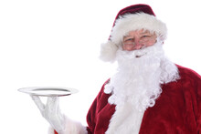 Santa Claus Holding An Empty S...
