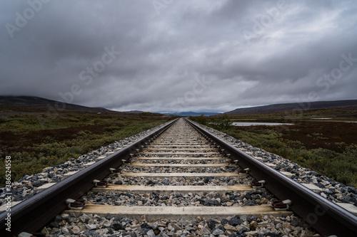 railway in the countryside Fotobehang