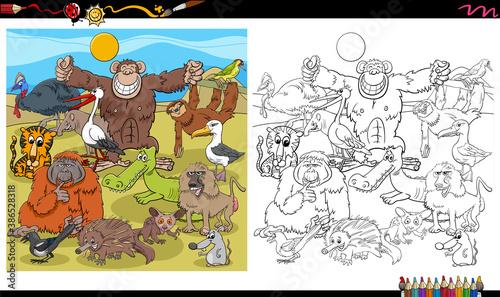 Naklejka premium cartoon animal characters group coloring book page