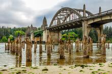 An Old Oregon Coast Bridge On A Very Low Tide
