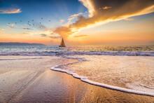 Sunset Boat Ocean Sailing