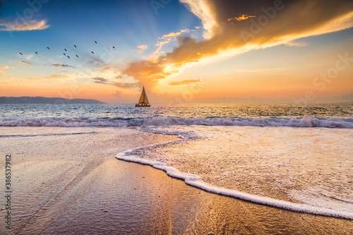 Sunset Boat Ocean Sailing Tapéta, Fotótapéta