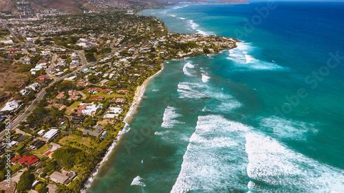Aerial photography of Kahala, Honolulu coastline, Oahu, Hawaii Tapéta, Fotótapéta