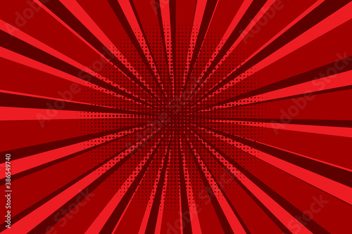 Background from red rays. Red and burgundy sunbeams. Starburst burst vector illustration. Stock image. - 386549740