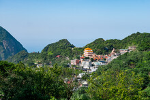 View From Jinguashi Shrine, Mountain Ocean Temple, And Residential Buildings.
