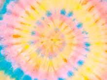 Rainbow Golden Spiral Tie Dye Background Pattern. Swirl Hippie Tiedye Wallpaper. Boho Festive Tie-dye Backdrop.