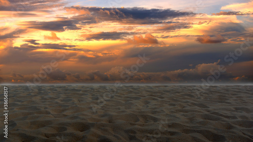 Fototapety, obrazy: Golden Sky and Sandy Beach Floors. Beautiful Nature.
