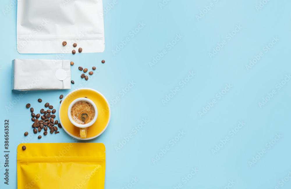 Fototapeta Composition with hot coffee  on color background