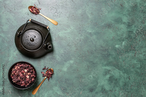 Obraz Composition with dry hibiscus tea on table - fototapety do salonu