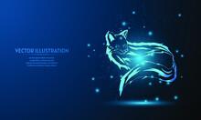 Glowing Fox On Dark Blue. Fox With Starlight Background. Fox Wallpaper