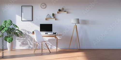 Fototapeta 爽やかな光が差すリビングインテリア ホームオフィス・リモートワークの3Dレンダリンググラフィックス obraz