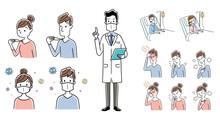 イラスト素材:新型コロナウイルスの症状、対策を説明する医師、セット