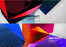 Set Of Low Poly 3d Shapes Geometric Abstract Backgrounds. Polygonal Designs. Vector Illustrations For Covers, Banners, Flyers And Posters And Other