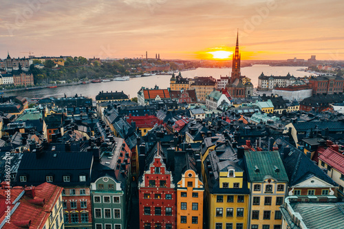 Stortorget place in Gamla stan, Stockholm in a beautiful sunset over the city.