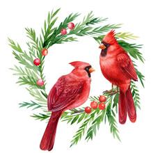 Red Cardinal, Christmas Wreath...
