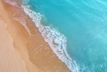 Seascape, Sandy Beach, Sand And Water, Top View, Abstract Nature Landscape Background