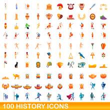 100 History Icons Set. Cartoon...