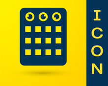 Blue Drum Machine Icon Isolated On Yellow Background. Musical Equipment. Vector.