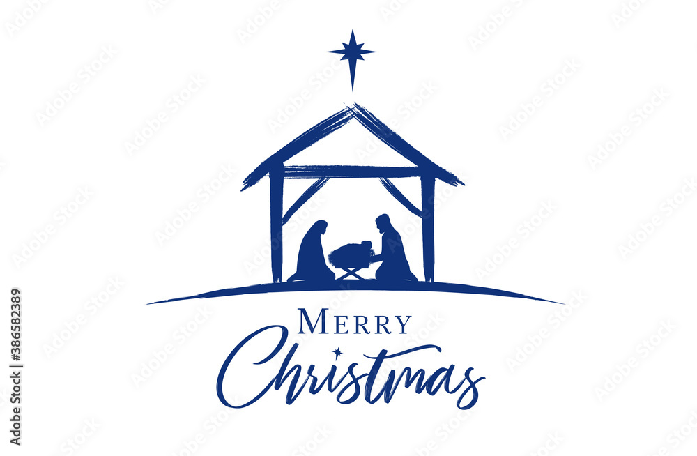 Fototapeta Christmas scene of baby Jesus in the manger with Mary and Joseph in silhouette, surrounded by star. Christian Nativity with text Merry Christmas, vector banner