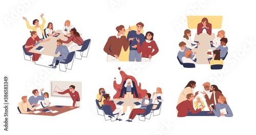 Collection of scenes of tense and toxic environment in the office. Conflicts and disagreement at business meeting vector flat illustration. Boss and colleagues having problem at work