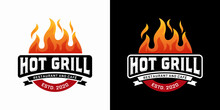 Hot Grill Logo Design Vector Template