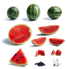 Set Of Watermelon Composition, All Display Of Watermelon Show In One Picture, Worthy Photo.