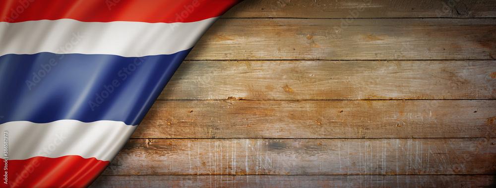 Fototapeta Thai flag on vintage wood wall banner