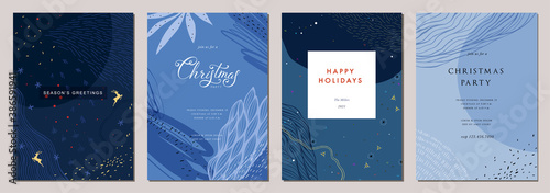 Obraz Modern universal artistic templates. Merry Christmas Corporate Holiday cards and invitations. Abstract frames and backgrounds design. Vector illustration. - fototapety do salonu