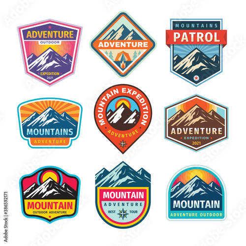 Fotografering Mountain badges set