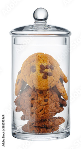 Fototapeta Glass storage jar for cookies isolated on white