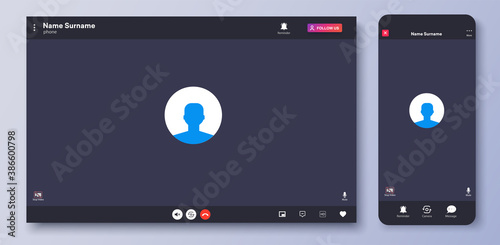 Obraz Video call interface. Web chat UI screen mockup. Call screen template. Mockup UX,Kit interface. Application for calls and online conference meeting. Communication windows for mobile app and desktop - fototapety do salonu