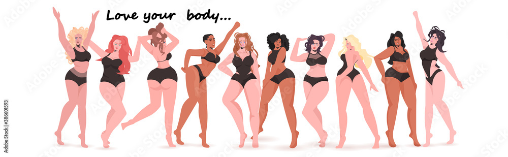 Fototapeta mix race women of different height figure type and size standing together love your body concept girls in swimsuits full length horizontal vector illustration
