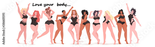 Obraz mix race women of different height figure type and size standing together love your body concept girls in swimsuits full length horizontal vector illustration - fototapety do salonu