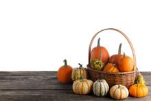 Little Pumpkins In Basket