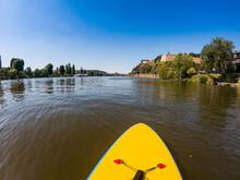 Paddleboarding In Vltava - Moldau River In Prague Under Vysehrad Fortress