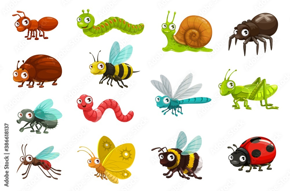 Fototapeta Cute bugs and insects cartoon characters. Happy smiling ant, caterpillar and snail, spider, beetle and bee, fly, earthworm and dragonfly, grasshopper, mosquito and butterfly, bumblebee, ladybug vector