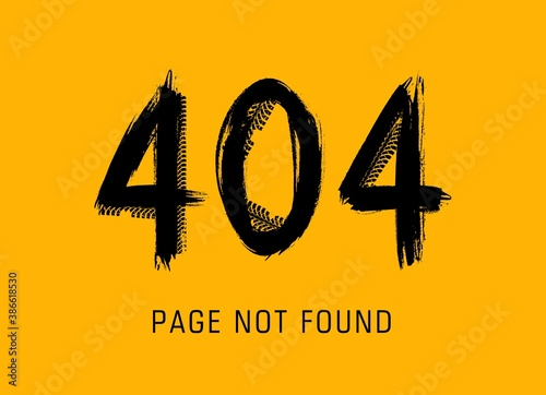 404 error, page not found in grunge style made of vector offroad tire prints. Lost internet connection, website under maintenance black dirty typography on yellow background. 404 page car tyres track