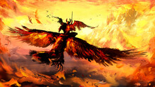 An Angel With Frayed Wings Flies To The Castle With A Sword At The Ready, Riding A Huge Eagle, On The Background Of A Golden Sunset And Bright Snowy Mountains. 2D Illustration