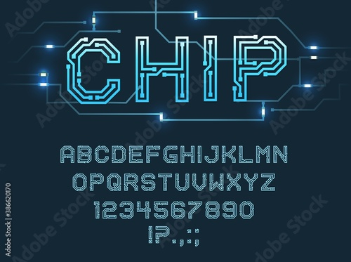 Fotografie, Obraz Chip type font, vector alphabet letters, digits and punctuation marks Blue micro