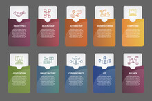 Infographic Industry 4.0 Template. Icons In Different Colors. Include Industry 4.0, Blockchain, Automation, Manufacturing And Others.