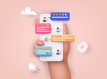 Hands Holding Phone With Review Rating. Reviews Stars With Good And Bad Rate And Text.